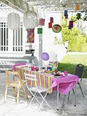 Outdoor table and decorated patio after birthday party