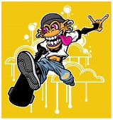 picture of skateboarding  - Illustration of a skateboarding monkey performing a trick - JPG