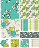 image of quilt  - Modern Floral Quilt Vector Patterns - JPG