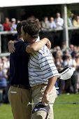 LOCH LOMOND, SCOTLAND - JUL 12 2009; Loch Lomond Scotland; Martin Kaymer (GER) left and Gonzalo Fernadez-Castano (ESP) embrace as Martin Kaymer (GER) wins the PGA European Tour Barclays Scottish Open golf tournament.