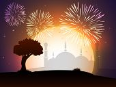 Celebration of Muslim community festival Eid Mubarak background with fireworks and view of mosque.