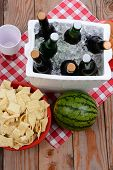 High angle shot of a picnic spread on a wood deck with red and white checkered table cloth. Items in