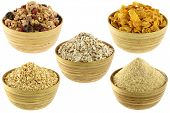 image of carbohydrate  - Collage of Breakfast Cereal Set - JPG