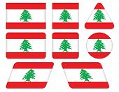 Buttons With Flag Of Lebanon