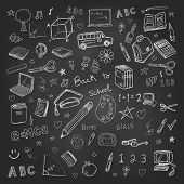 stock photo of sketch book  - Back to school doodles in chalkboard background - JPG