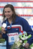 ROME, ITALY - JULY 02 2009; Rome Italy; Rebecca Soni (USA) during the medal award ceremony for the womens 50m breaststroke at the 13th Fina World Aquatics Championships held in the The Foro Italico Swimming Complex