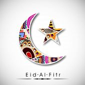 Muslim community festival Eid Al FItr (Eid Mubarak) with floral decorated moon and star on abstract grey background.