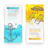 Vacation and travel vector vertical banners with lettering and hand drawn elements