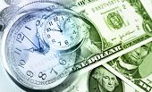 American banknotes. Clocks. Time is money concept