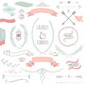 stock photo of laurel  - Wedding graphic set - JPG