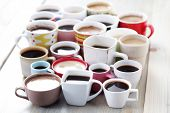 lots of coffee in different cups - coffee time