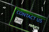 Contact Us Concept With The Focus On The Return Button Overlaid With Binary Code
