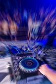 dancing people radial blur effect in Laganas Zakynthos Greece