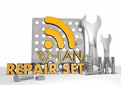 3D Render Of A Mechanical W-lan Symbol Repair Set