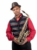 Portrait Of Attractive Young Saxophonist
