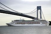 Sea Princess Cruise Ship under Verrazano bridge during Princess World Cruise 2013