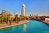 DUBAI, UAE - OCTOBER 23: Address Hotel and Lake Burj Dubai on October 23, 2012 in Dubai. The hotel is 63 stories high and feature 196 lavish rooms and 626 serviced residences