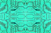 Green Electronic Microcircuit.background.