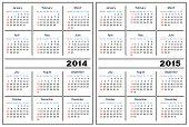 Plantilla de calendario. 2014,2015