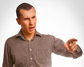 curse angry man swears points finger, family