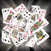 foto of playing card  - Lots of Scattered Playing Cards Square Format - JPG