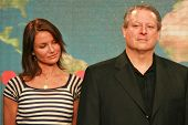 Cameron Diaz and Al Gore at a press conference to Announce the Global Climate Crisis Campaign Concer