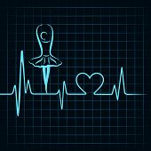heartbeat make a dancing girl and heart symbol