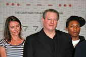 Cameron Diaz with Al Gore and Pharrell Williams at a press conference to Announce the Global Climate