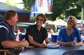 American sportscaster Mary Carillo with guests during US Open 2013 at National Tennis center