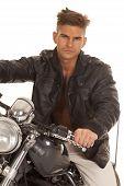 Man Leather Jacket Close Sit Motorcycle
