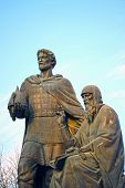 stock photo of yuri  - Monument to the founders of Zvenigorod Zvenigorod Yuri and Saint Savva Storozhevsky against the blue sky - JPG