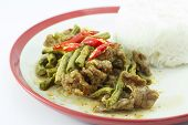 foto of sauteed  - Sauteed yard long bean chilli and steamed rice - JPG