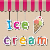 stock photo of awning  - colorful paper ice cream signs on brown background and awning - JPG