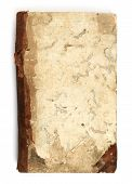 stock photo of bookworm  - Old book eaten by bookworm on white background - JPG