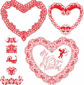 Set Of Vintage Ornamental Hearts Shapes With Calligraphic Text Be My Valentine And Ornament Elements