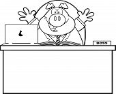Black And White Businessman Pig Character Behind Desk