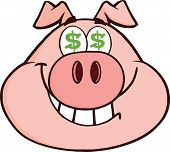 Smiling Rich Pig Head With Dollar Eyes