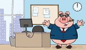 Businessman Pig Cartoon With Sunglasses,Cigar In Office