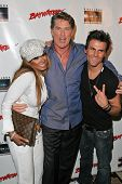 Traci Bingham with David Hasselhoff and Jeremy Jackson at the DVD Release of