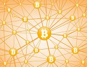 image of peer  - Bitcoin currency system peering network links illustration background - JPG