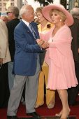 Buzz Aldrin and Ruta Lee at the award ceremony honoring Ruta Lee with a star on the Hollywood Walk o