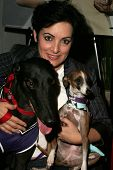 Jane Wiedlin and dogs Geordie and Peanut at the first annual Beverly Hills Mutt Club Fashion and Hal
