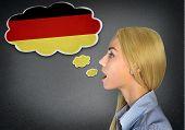 Woman speaking german in bubble