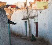 Narrow Alleyway Of Ancient City Of Jugol Early In The Morning. Harar. Ethiopia.