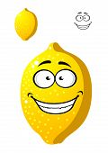 Happy smiling yellow cartoon lemon fruit