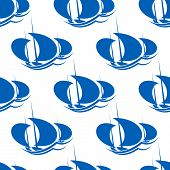 Yachts racing sport seamless pattern