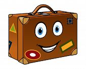 Happy well travelled cartoon suitcase