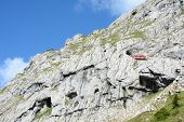 ALPNACHSTAD, SWITZERLAND - July 3, 2014: The Pilatus-Bahn, the world's steepest cogwheel railway wit