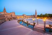 Spanish Square espana Plaza in Sevilla Spain at dusk
