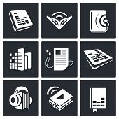 stock photo of scribes  - Audio book icon collection on a black background - JPG